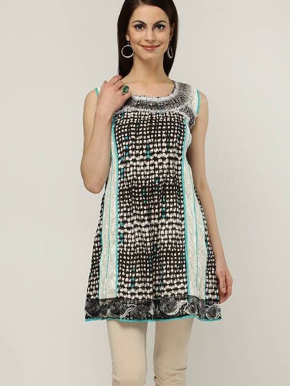 Sleeve Less Printed Black Kurti