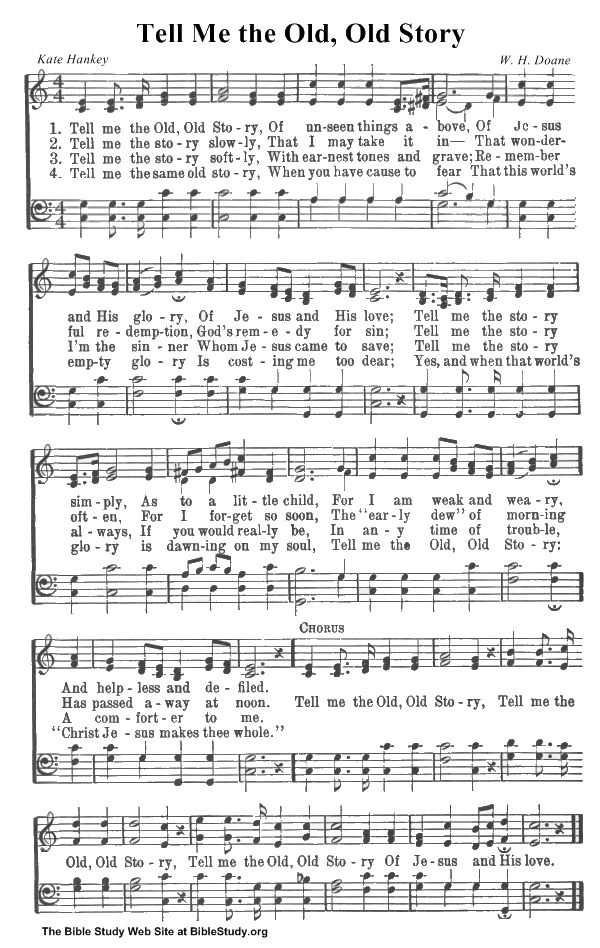 OLD HYMNS | Tell Me the Old, Old Story hymn sheet music