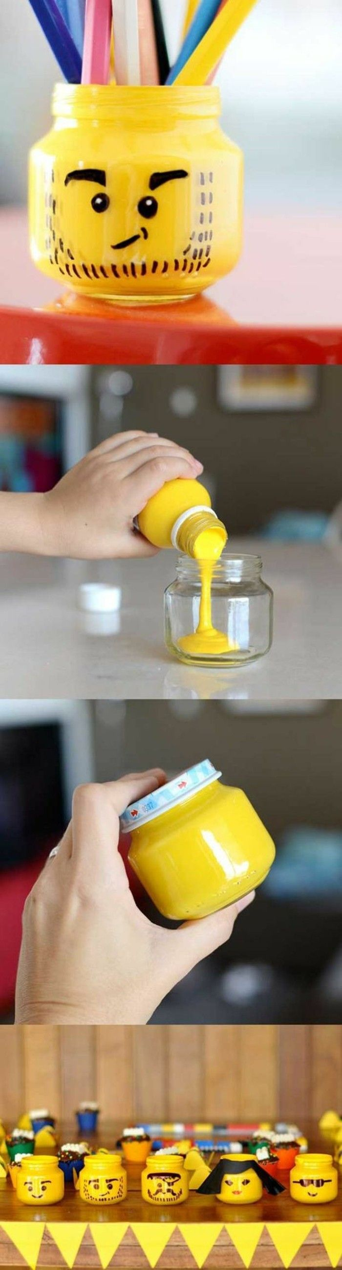 que faire avec des pots en verre, accessoire bureau, peinture jaune, smiley