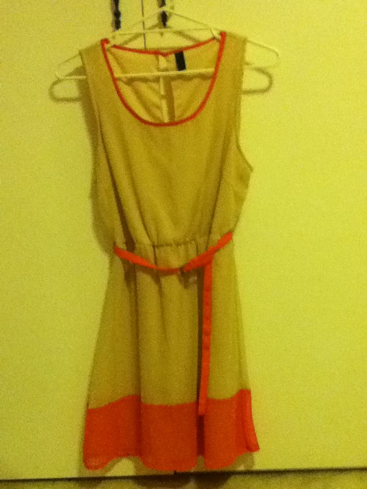 1 - Vero Moda brand peach and beige dress. Size L. Worn once, too large for me.