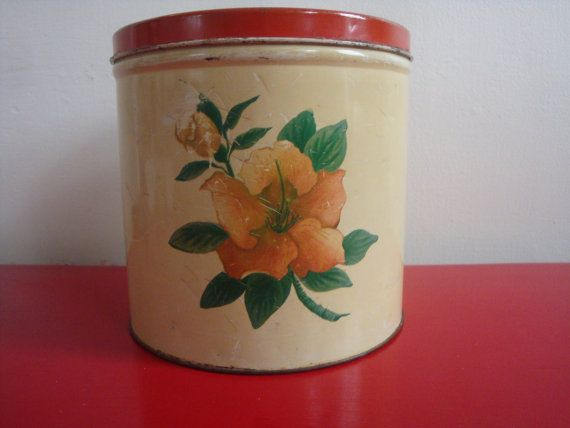 Red And Cream Vintage Kitchen Canister With By PlayfullyVintage