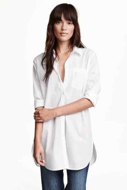 Camisa comprida em algodão