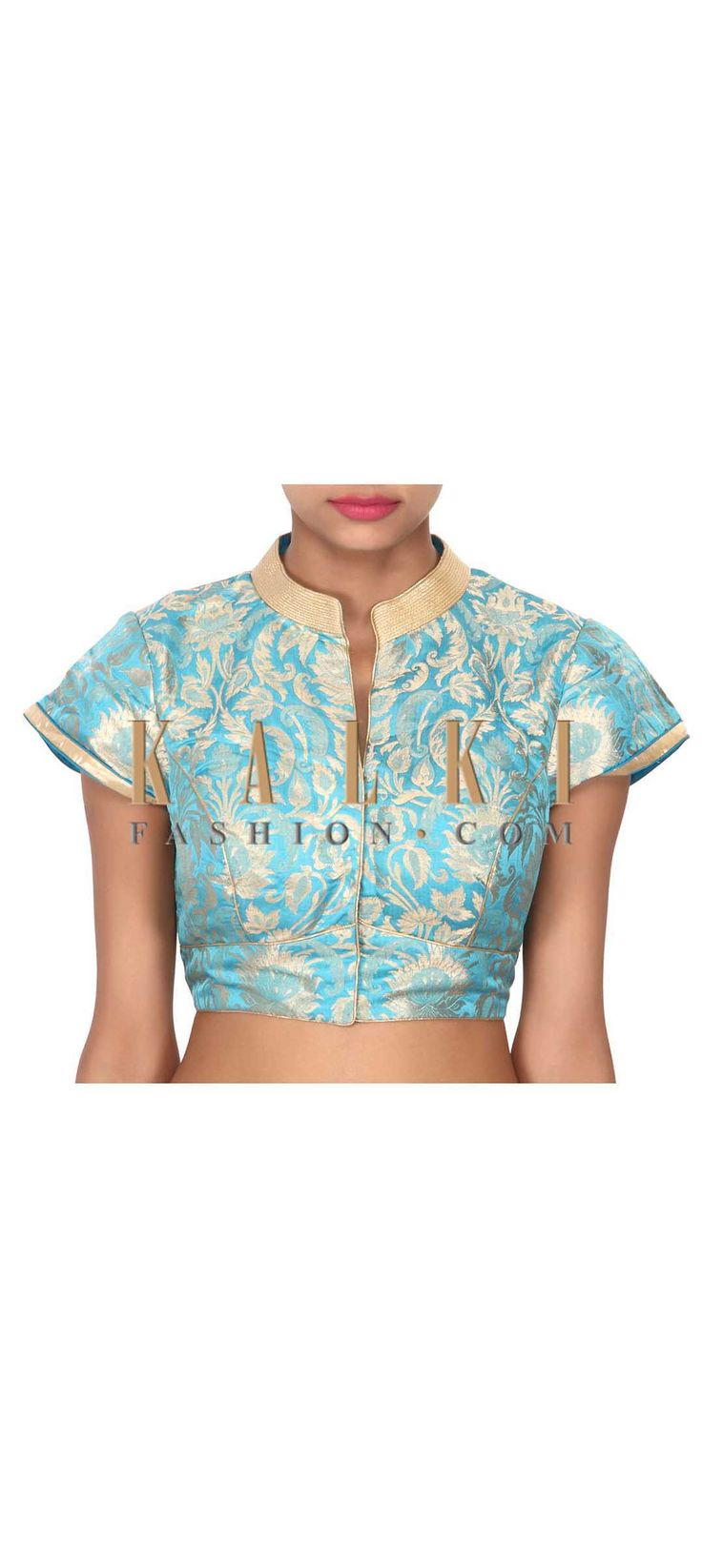 Buy this  Turq blouse highlighted in gold collar only on Kalki