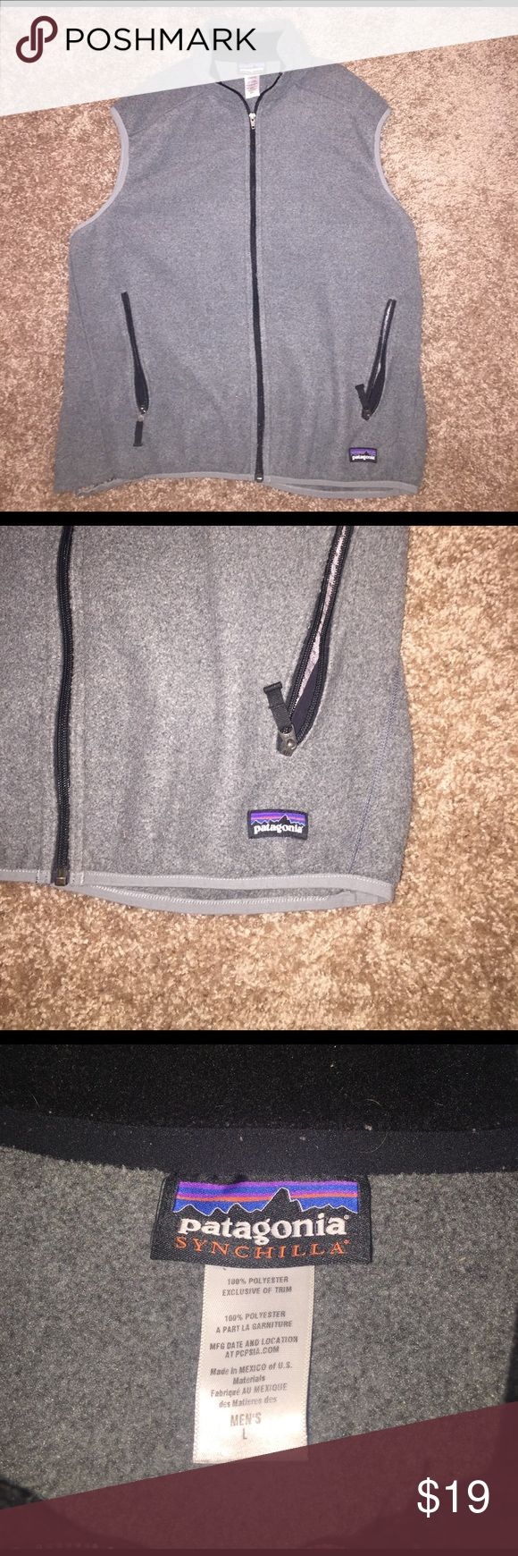 Men's Patagonia  Fleece Vest (L) Men's Grey Patagonia Fleece Vest. Size Large. In good shape except bottom right stitching has came apart and can easily be fixed. Even if doesn't get fixed, lose stitching is barely noticeable when being worn. Patagonia Jackets & Coats Vests