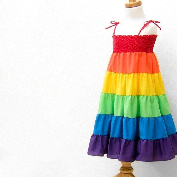 Rainbow Dress, Rainbow Twirl Dress, Rainbow Sundress, Children Clothing, Baby, Toddler, Girls, 12 to 18 months, 1T, 2T, 3T, 4t, 5, 6. $69.95, via Etsy.