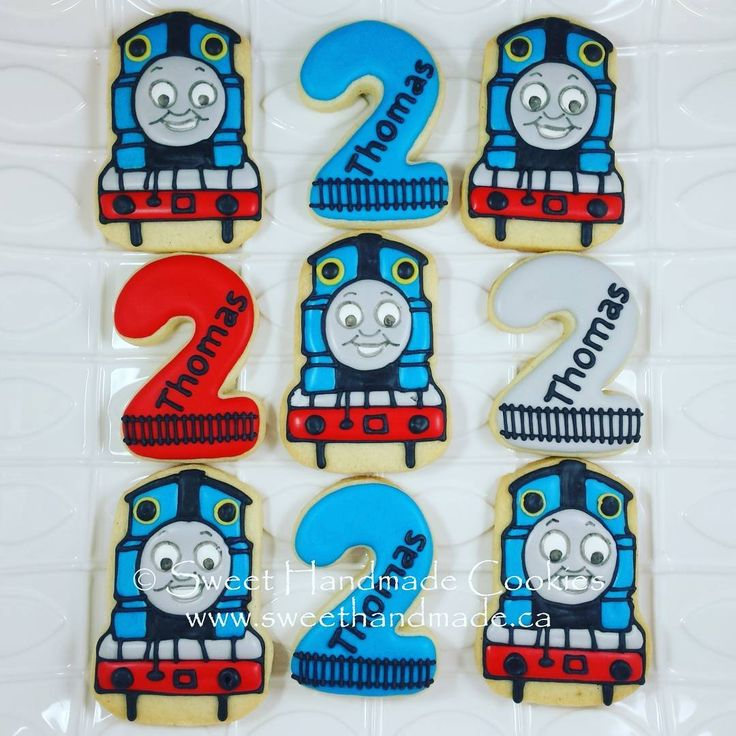 Finished set of Thomas the Train cookies for a little boy turning 2! #sweethandmadecookies #customcookies #decoratedcookies #designercookies #cookies #bradfordontariocookies #torontocookies #torontodecoratedcookies #gtacookies #gtadecoratedcookies #thomasthetrain #thomasthetraincookies #2ndbirthdaycookies #birthdaycookies