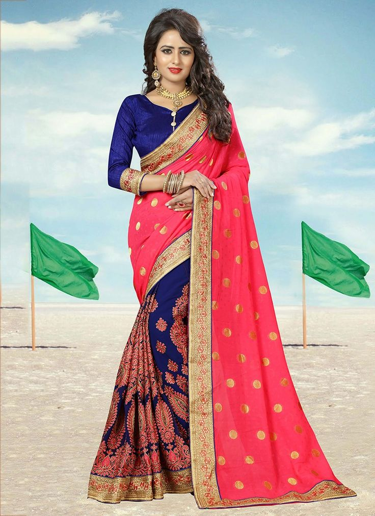 Pink Heavy Embroidered Georgette Saree