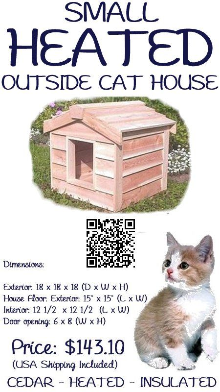 The Small Heated Outside Cat House is large enough to house 1 averaged sized cat. This house has been individually hand crafted by expert workman, from Canadian  Northern White cedar, the wood of choice for long-lasting outdoor use.  The small outdoor cat house is insulated with Thermal-Ply insulation, which has been placed inside the floors, walls and ceiling, which keeps your cat warm in winter, - #outsidecathouse #outdoorcathouse #catoutsidehouse…
