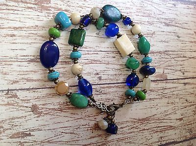 Green Blue Turquoise And Cream Glass & Stone Beaded Bracelet