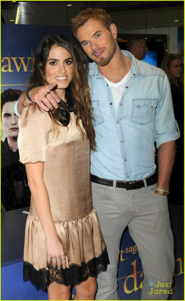 Nikki Reed and Kellan Lutz attend the photocall for The Twilight Saga: Breaking Dawn Part 2 on Oct 28, 2012 in Glasgow, UK