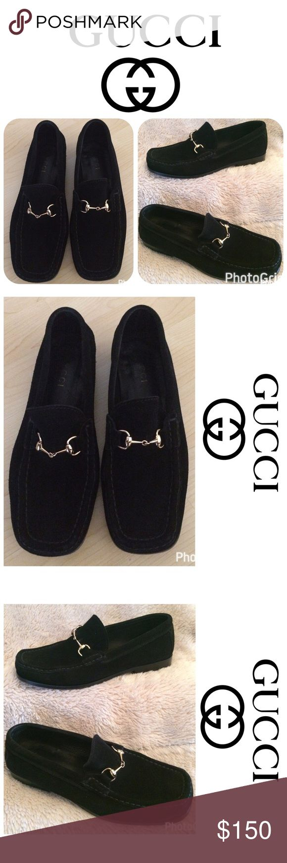 AUTHENTIC *GUCCI* Black Suede Loafer Size 37C-US 7 AUTHENTIC *GUCCI* Ladies Black Suede Leather Horse it Loafer Shoes Size 37C-US 7!  These are a pair of black ***GUCCI*** suede leather horsebit loafer dress shoes in Size 37C-US 7.  These shoes are gently worn and in *EXCELLENT* condition!  The horse bit hardware is gold tone.  If you have any questions, please do not hesitate to contact me. Shoes Flats & Loafers