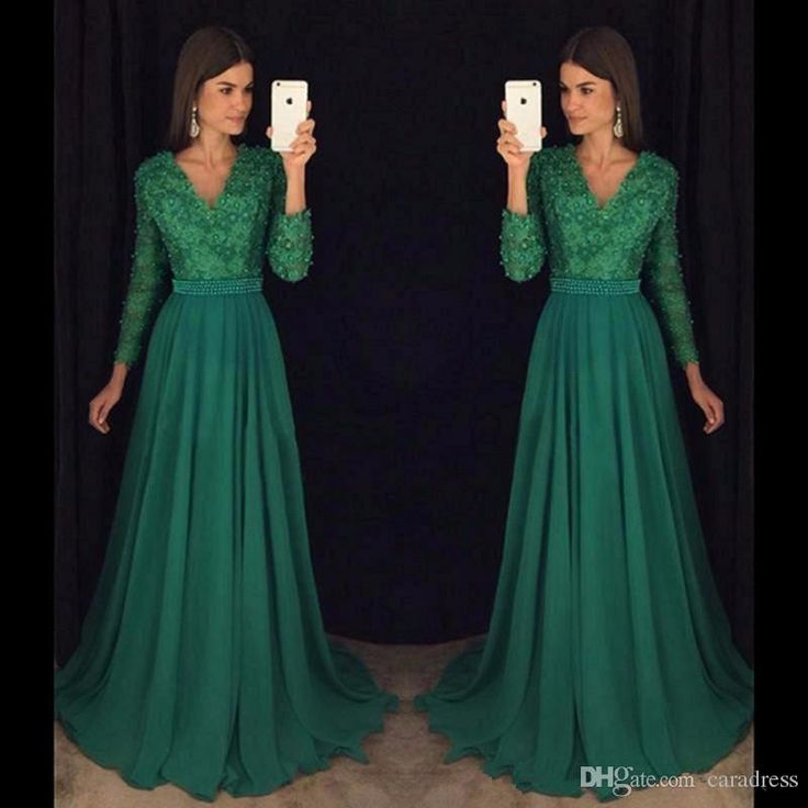 2017 Vintage Green Lace Prom Dresses Long Sleeves A Line Evening Gowns With Beaded Pearls V Neck Chiffon Formal Party Dresses Floor Length Clearance Prom Dresses Cream Prom Dresses From Caradress, $118.6| Dhgate.Com