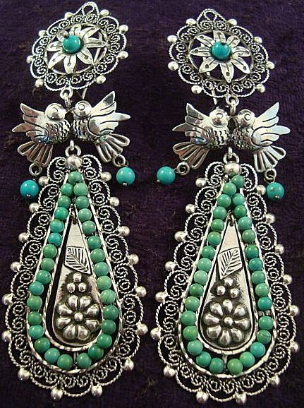 Frida Kahlo Design | Taxco Mexican Sterling Silver and Turquoise Bead Earrings
