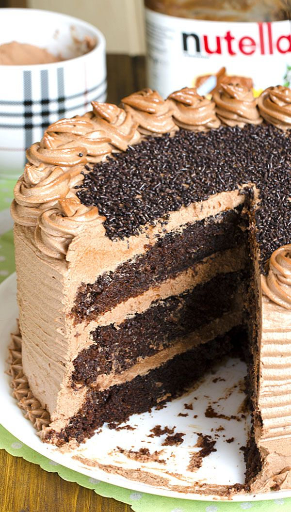 Decadent Nutella Chocolate Cake – moist, rich and super chocolatey cake frosted with rich and buttery Nutella frosting . #Nutella #chocolate #cake