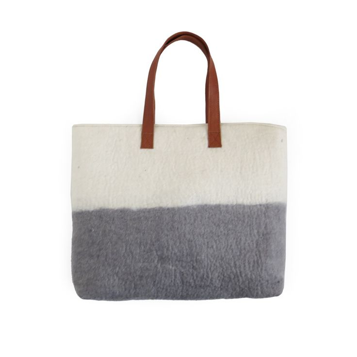 Image of Ista Felt Tote in Cream/Grey with Tan Leather Handles