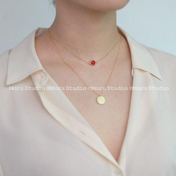 Birthstone Choker Necklace/ Personalized Birthstone by MoruStudio