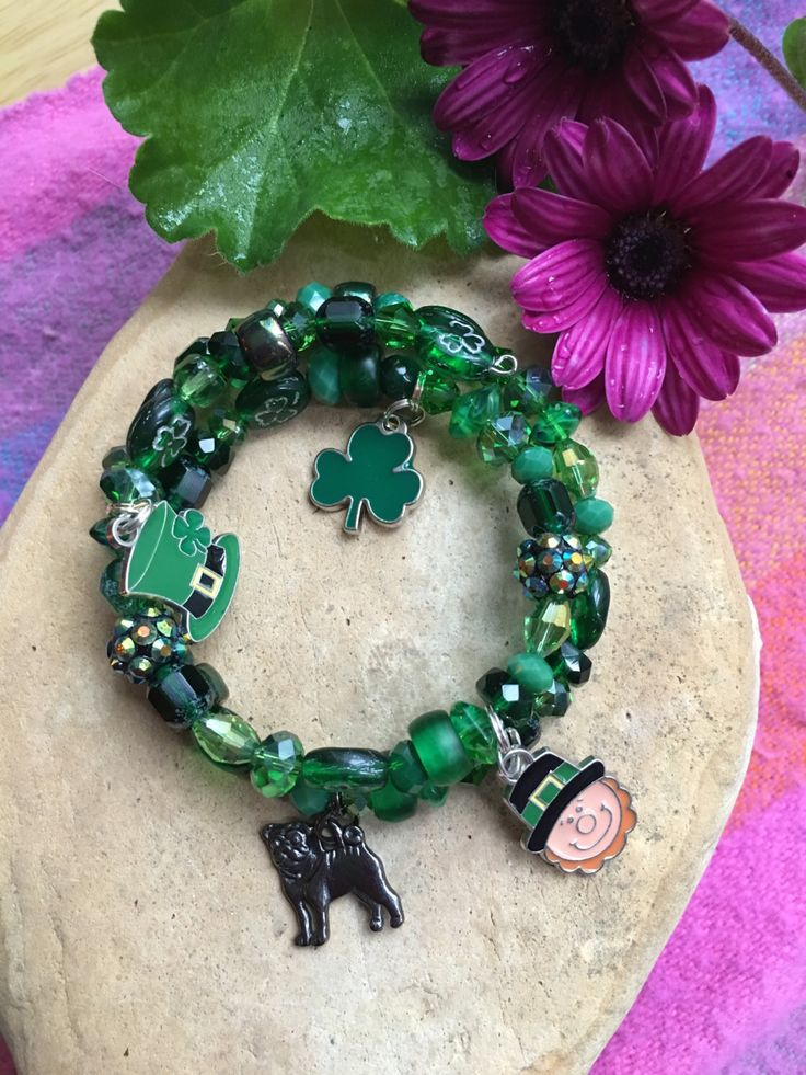 SHAMROCK and LEPRECHAUN CHARM Bracelet-Green-St. Patrick's Day-Shamrock Charm-Pinch Me-Green Beer-March 17-Pug Rescue-One of a Kind