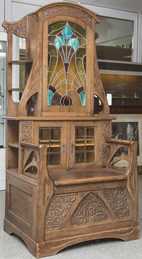 Amazing Jugendstil M bel Sitzbank mit bleiverglastem Vitrinenaufsatz Eichenholz Unterbau als Sitzbank ge