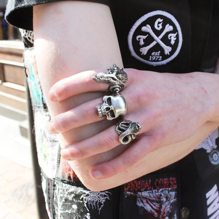 Our Ancient Goat Ring Large Evil Skull Ring and Cobra Ring