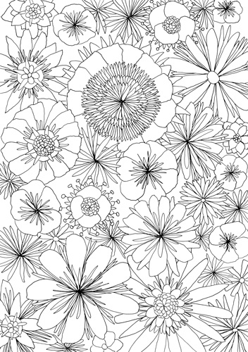 spring adult coloring page