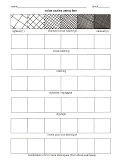 Crosshatching technique Practice worksheet for shading