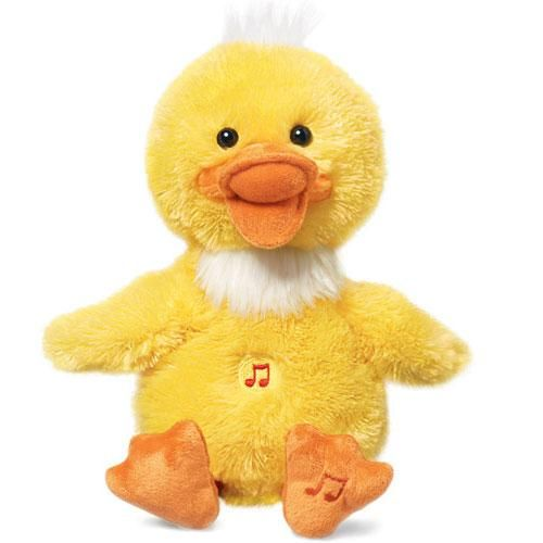 """Cute duck (9"""" H) performs a rendition of """"Dynamite."""" Tickle his belly and he stops singing and giggles. Uses 3 AAA batteries (not included). Polyester. Imported.<br><br>""""Dynamite"""" written by Taio Cruz, Lukasz Gottwald, Benjamin Levin, Max Martin, and Bonnie Leigh McKee. EMI April Music Inc.<br><br><b>Limited time only.</b>"""