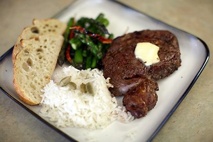 Bison Ribeye Steak Broiled and Buttered | Bison Recipes
