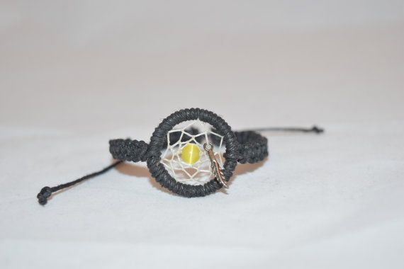 Dream Catcher Bracelet with a Yellow Bead and a by KnotTreasures