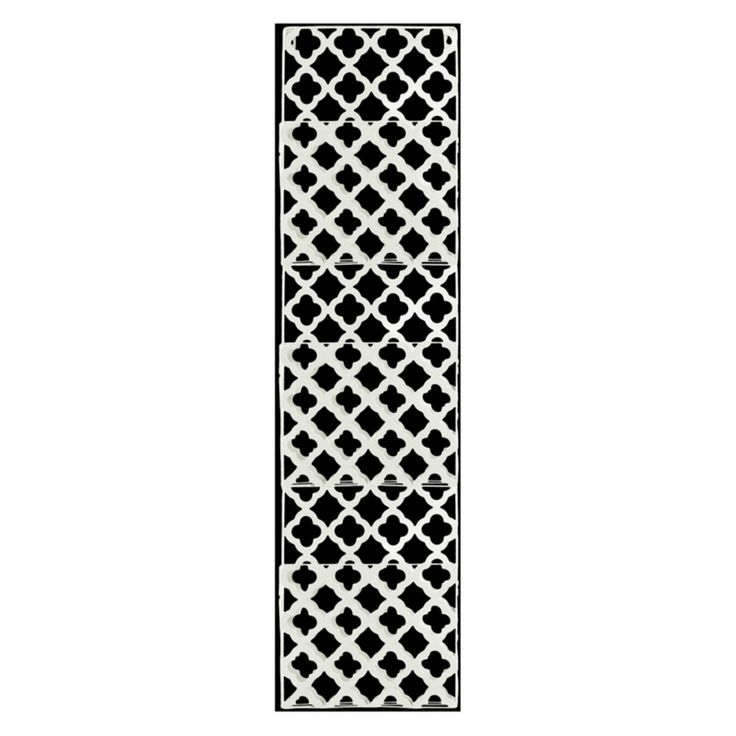 Urban Trends Rectangular Wall Mail Organizer with 3 Tiers and Perforated Quatrefoil Pattern - 12389