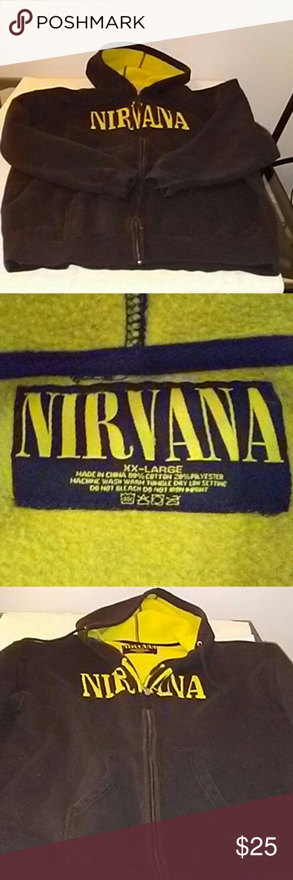 Nirvana Zip Up Hoodie Black Zip Up with embroidered word Nirvana. Def. Used with lots of miles but still has lots if love. Broken in with distress. NIRVANA Sweaters