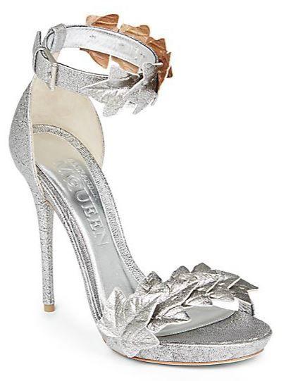 Alexander McQueen 'Ivy' metallic leather sandals >> Shoeperwoman