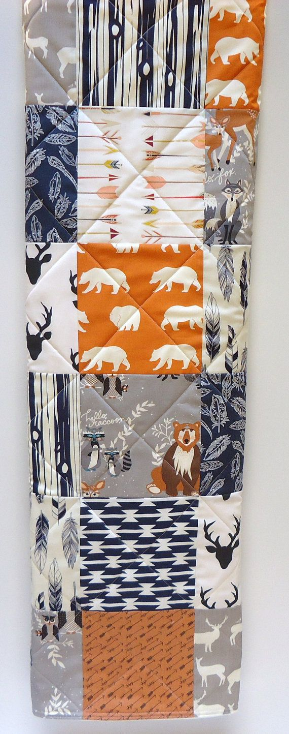 Baby Quilt-Rustic Baby Boy Bedding-Navy Blue-Orange_Gray-Modern Woodland Crib Blanket-Aztec-Arrows-Forest Animals-Buck-Bear-Feathers