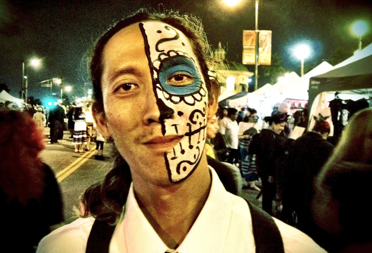 Portrait of a Los Angeles resident celebrating the dichotomy of life/death during the Day of the Dead in Boyle Heights, 2012. (By Raul Vasquez)
