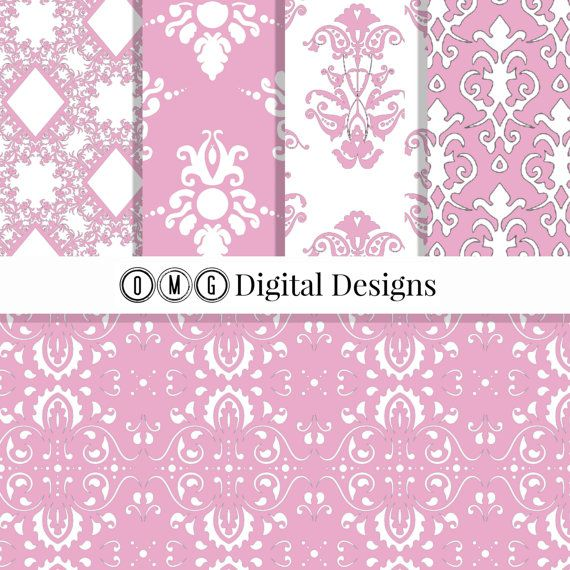 Rose Pink Damask Digital Paper: Pink Damask by OMGDIGITALDESIGNS
