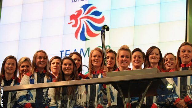 Team GB women's hockey squad at the London Stock Exchange