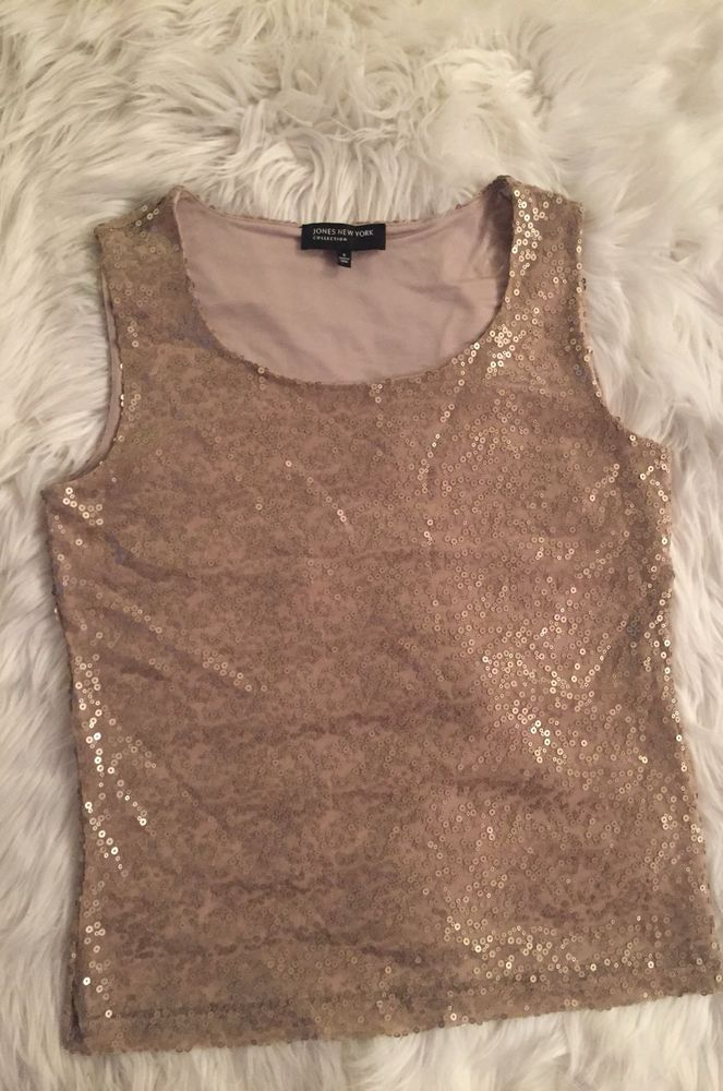 5181a2cef029f Jones New York Collection Women s Sleeveless Sequin Blouse Top Size Small  NEW