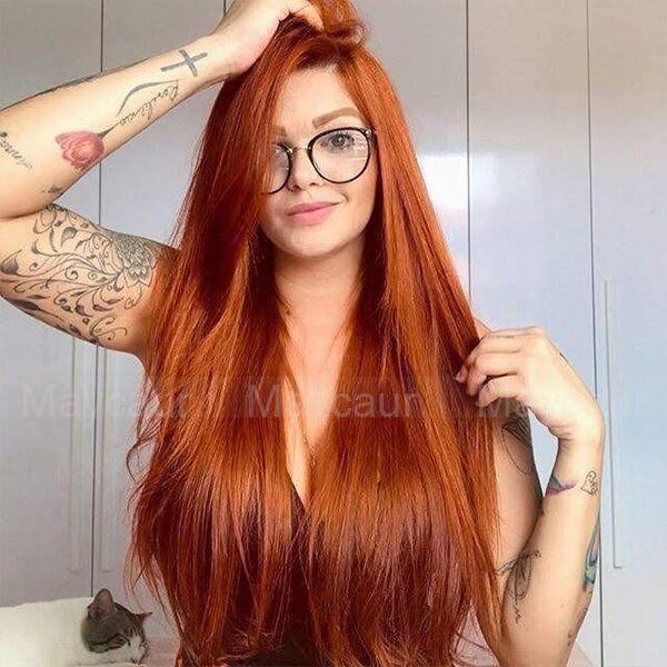 Orange Haar Lange Gerade Synthetische Keine Spitzeperücken ...