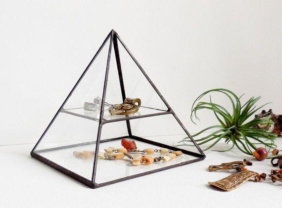 Pyramid Display Box, Stained Glass Display Box, Clear Glass Jewelry Box, Pyramid with a glass shelf.