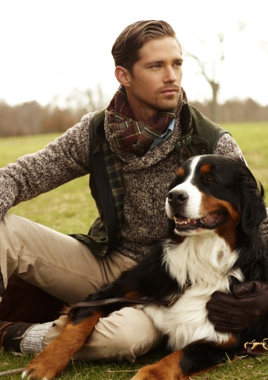 Well hello there handsome man with handsome dog! Ralph Lauren fall 2012 Polo nen collection.