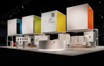 I love the idea of tall screens, dividing the exhibits on the bottom. I also love the stark white fixtures with the pops of color.