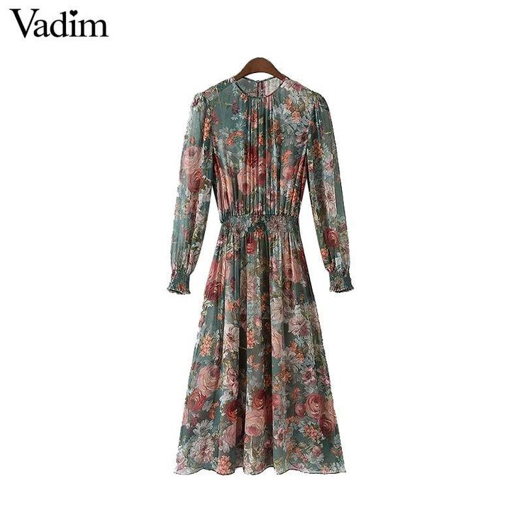 hip trend boho floral chiffon dress, long sleeve elastic waist 2