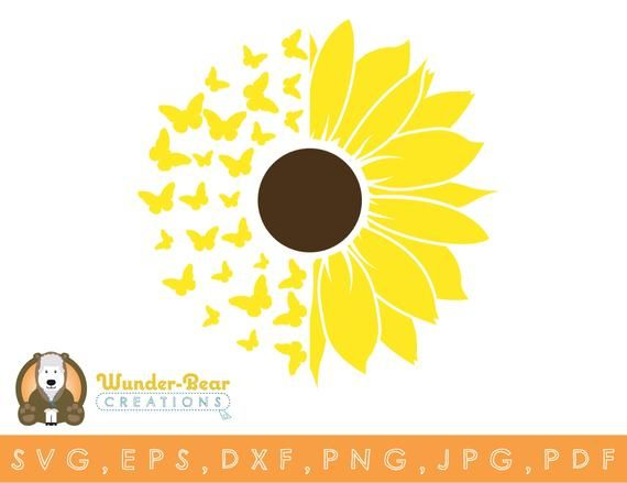 Sunflower With Butterfly S Svg And Clipart Sunflower Svg Etsy Butterflies Svg Flower Svg Starbucks Crafts
