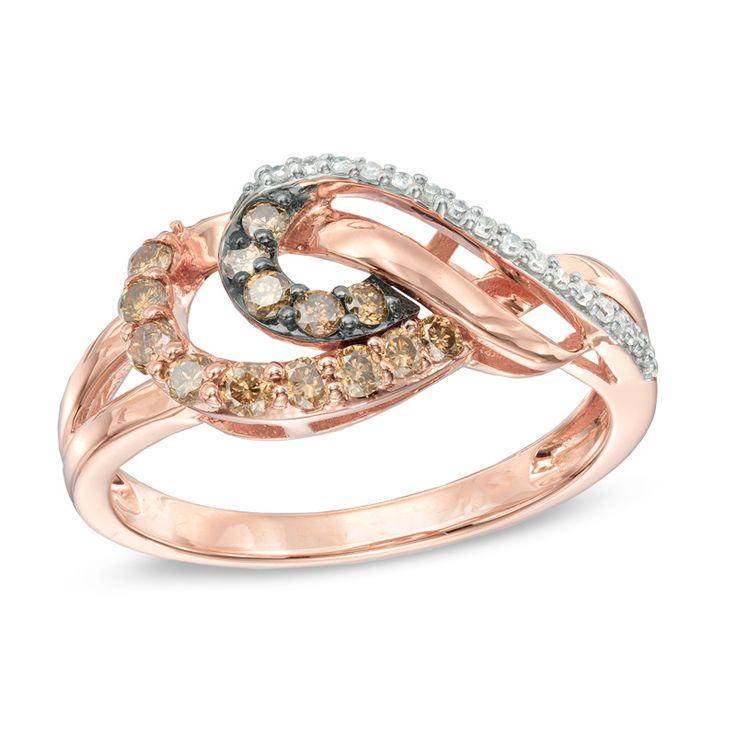 Zales 1/6 CT. T.w. Champagne Diamond Open Swirl Ring in 10K Rose Gold uq8JwQ1