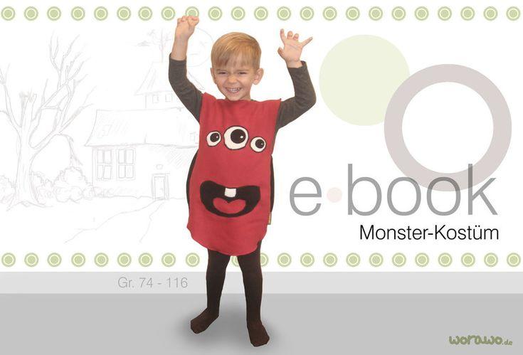 Ebook+Monsterkostüm+rot+Nähanleitung+Schnittmuster+von+Worawo+auf+DaWanda.com