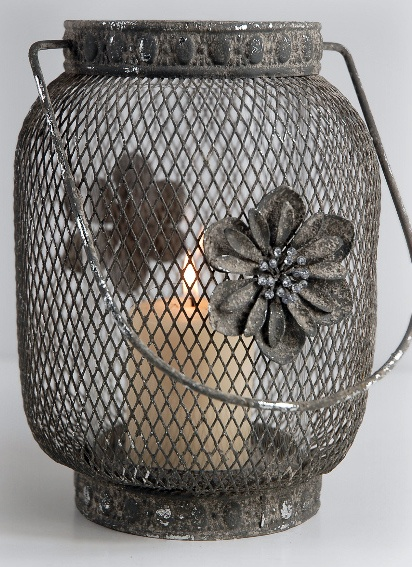 9 in metal wire mesh hanging candle lantern with for Wire candle lantern