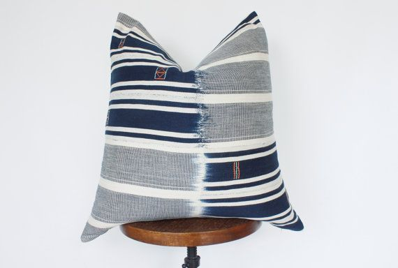 22x22 Navy Blue and White Stripe Pillow Cover, Blue White Stripe Pillow, African Mudcloth, Baule Pillow, Blue Stripe Pillow, Boho Pillow