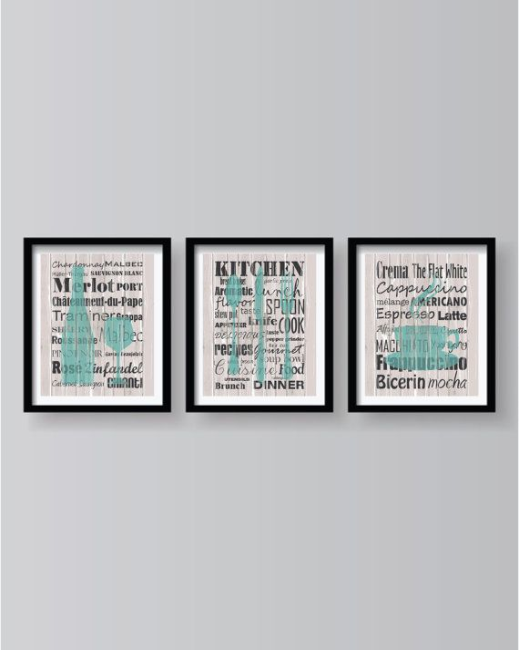 Kitchen Words Teal Grey decor  Kitchen wall art  by BlackPelican