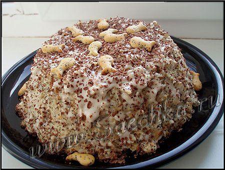 Очень простой рецепт торта из печенья без выпечки, а приготовлен торт из крекера «Рыбки».