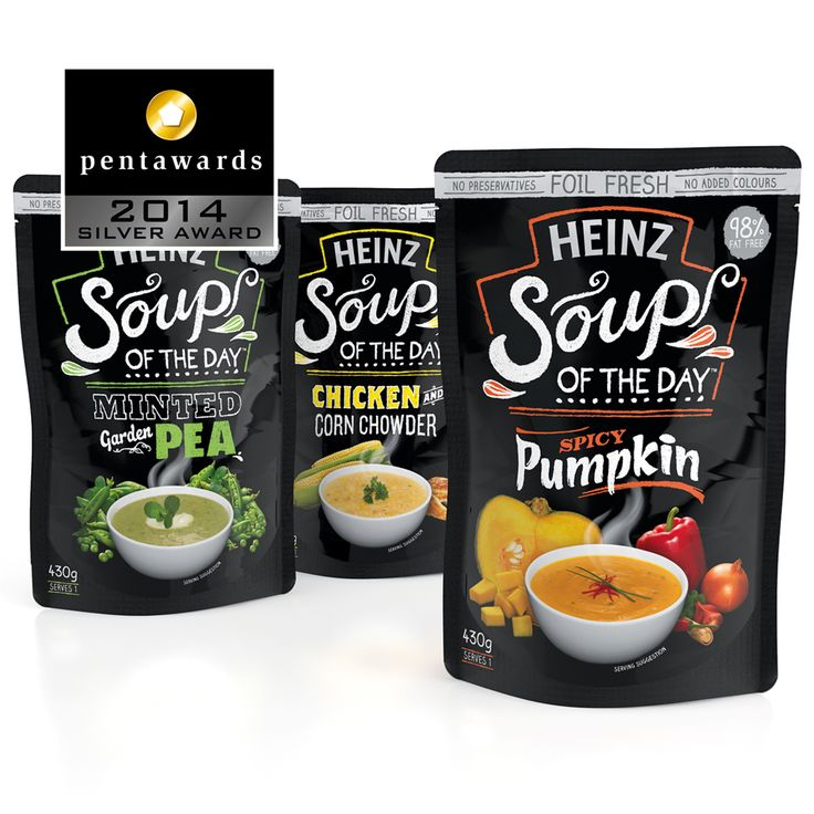 Silver Pentaward 2014 Food - Soups, ready-to-eat dishes Brand: Heinz Soup of the Day Entrant: Point 3 Design Country: AUSTRALIA www.point3.com.au