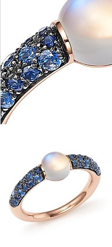 Pomellato M'ama Non M'ama Ring with Adularia and Blue Sapphire in 18K Rose Gold PRICE: $2,500.00  http://redirect.viglink.com/?key=1b5f336fc7df244853df64fcf1455874&u=http%3A%2F%2Fwww1.bloomingdales.com%2Fshop%2Fproduct%2Fpomellato-mama-non-mama-ring-with-adularia-blue-sapphire-in-18k-rose-gold%3FID%3D1812449